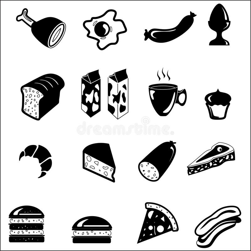 Download Food icon set stock illustration. Image of computer, restaurant - 25015022