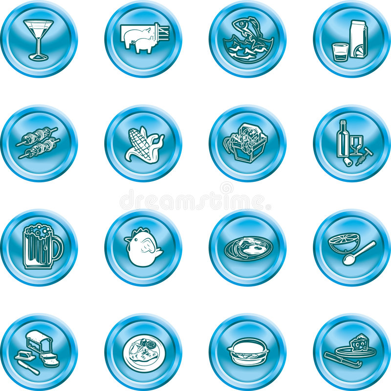 Food Icon Set. A set of food and drink icons. No meshes used stock illustration