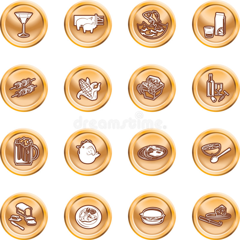 Food Icon Set. A set of food and drink icons. No meshes used royalty free illustration