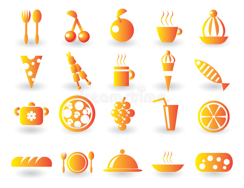Download Food Icon Set stock vector. Illustration of cuisine, fork - 8725397