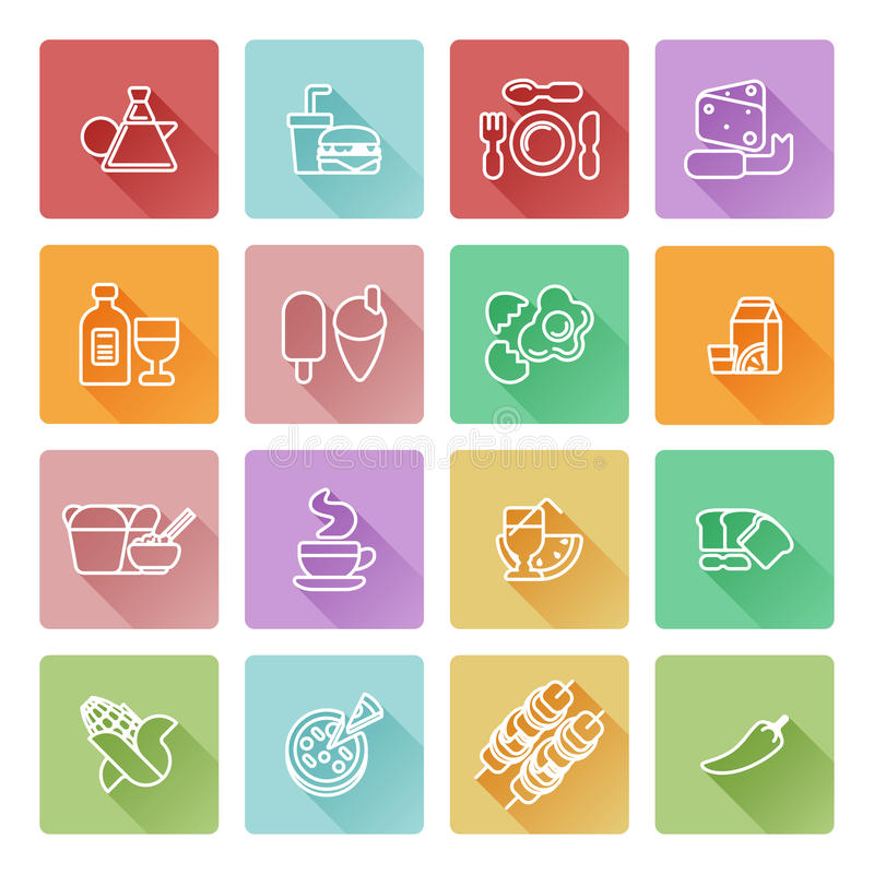 Food icon set. Great for restaurant or guides and similar. Including icons for burger, Chinese food, pizza, coffee and many more stock illustration