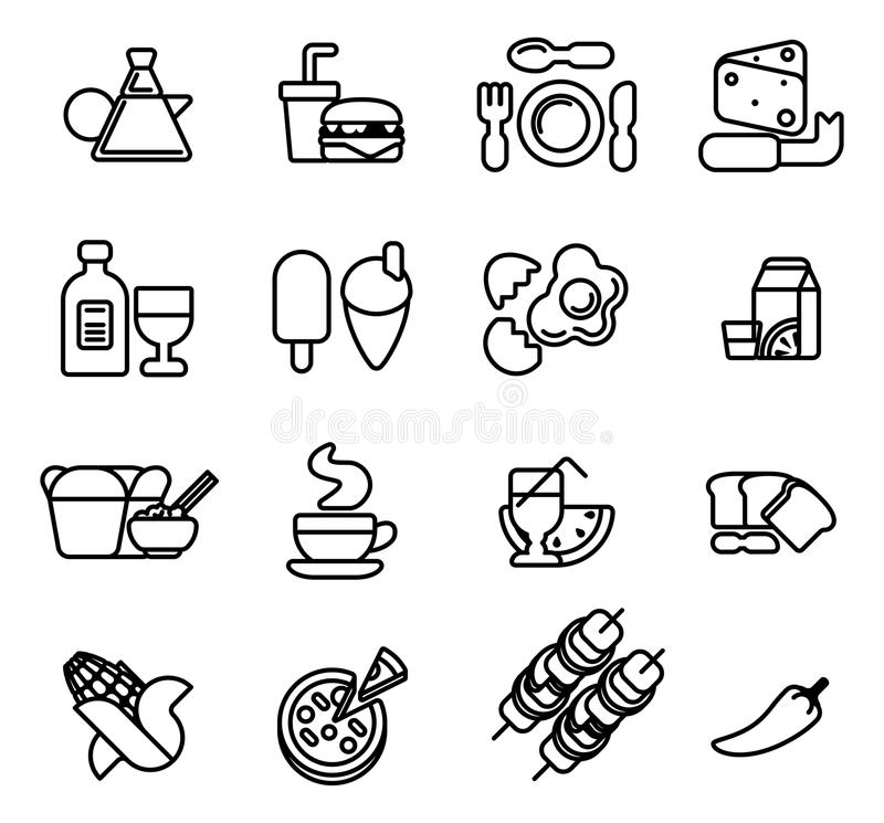 Food icon set. Food icon including icons for burger, cheese, pizza, coffee and many more vector illustration