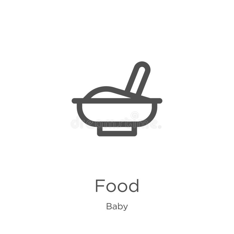 food icon vector from baby collection. Thin line food outline icon vector illustration. Outline, thin line food icon for website stock illustration