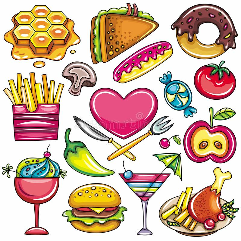 Food icons 1 stock illustration