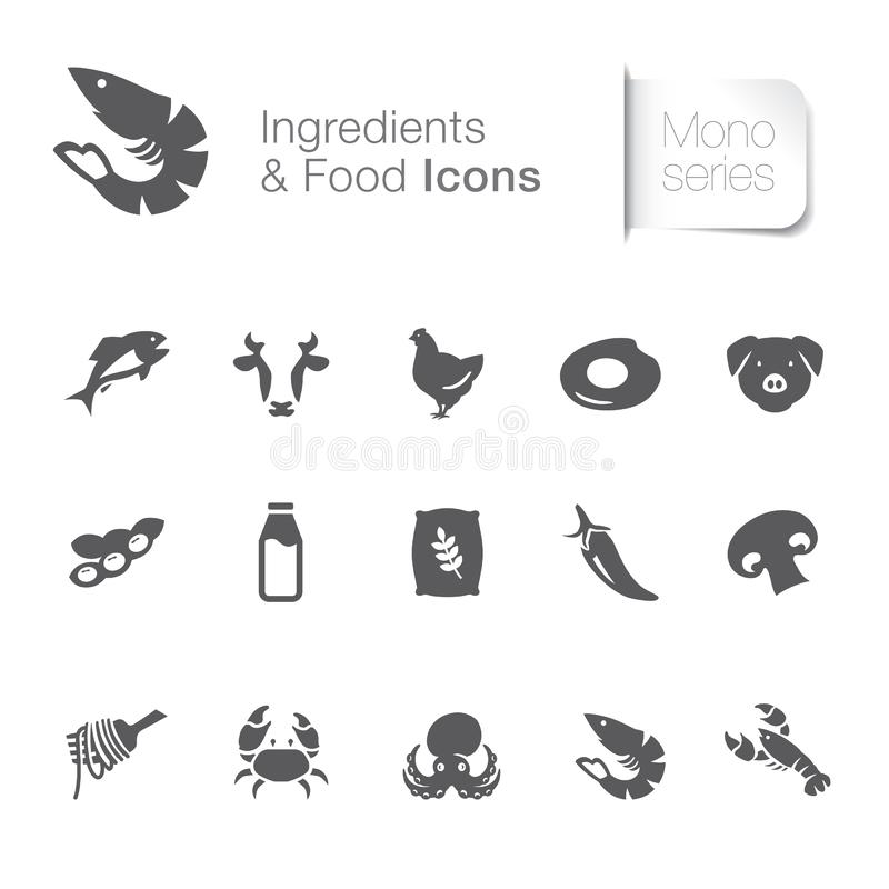 Ingredient & food related icons vector illustration