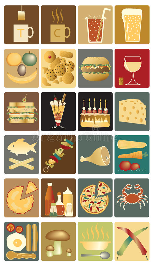 Download Food icons stock vector. Image of banana, sauces, biscuit - 15764815