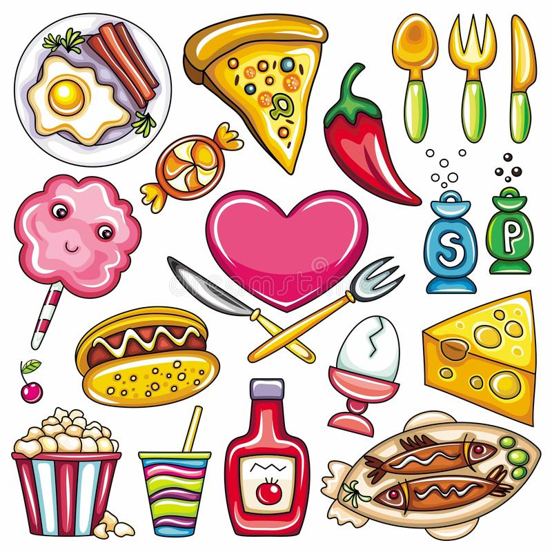 Food icons 2. Set of ready-to-eat food icons isolated on white background. part 2 vector illustration