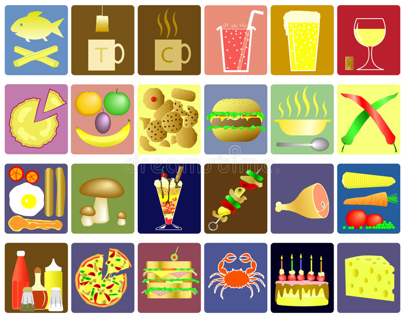Food icons. Set of editable food and drink vector icons