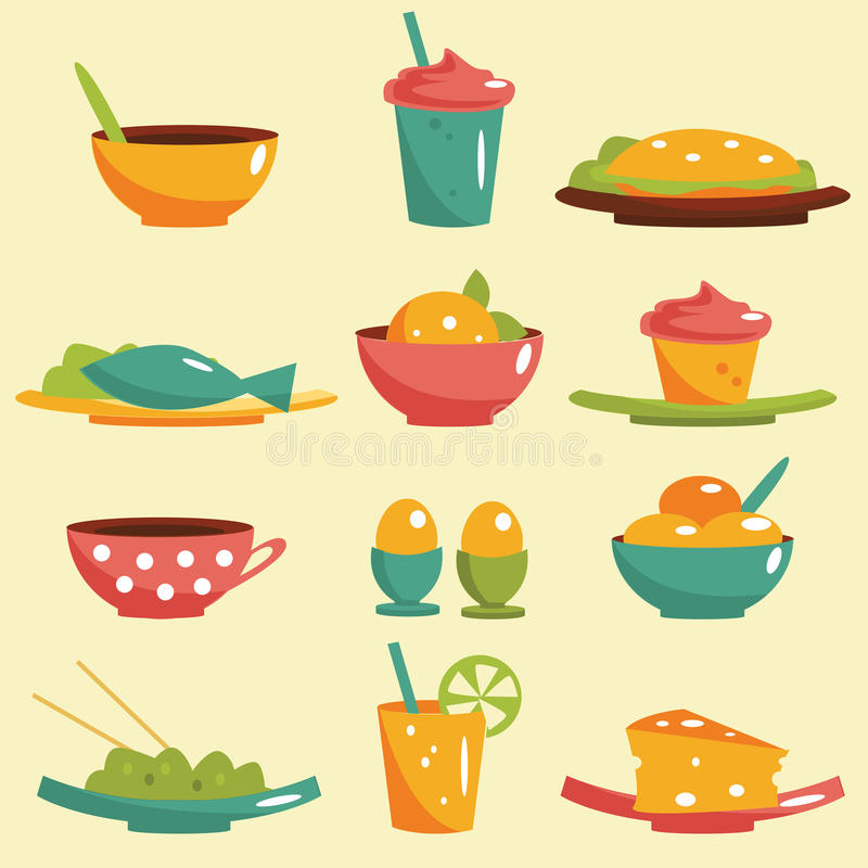 Download Food icons stock vector. Illustration of meat, cream - 25159793