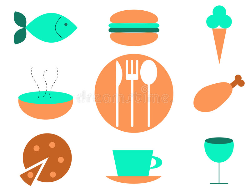 Download Food icons stock vector. Image of button, knife, coffee - 6977736