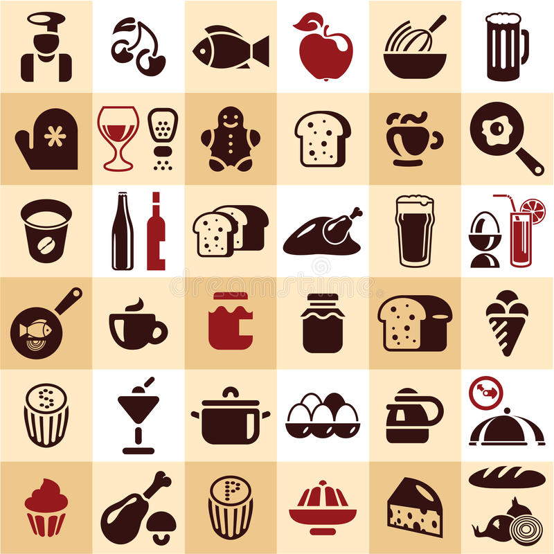 Download Food icons stock vector. Image of dishes, cherry, chicken - 30456371