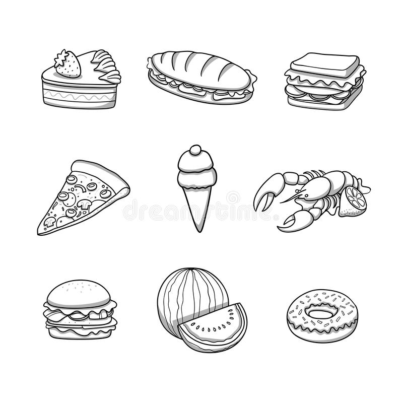 Food icons collection. Doodle cartoon vector illustration. stock illustration
