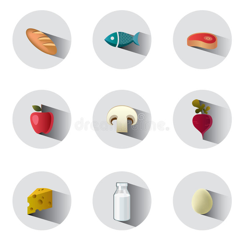 Food icons. Colorful food icons with long shadows stock illustration