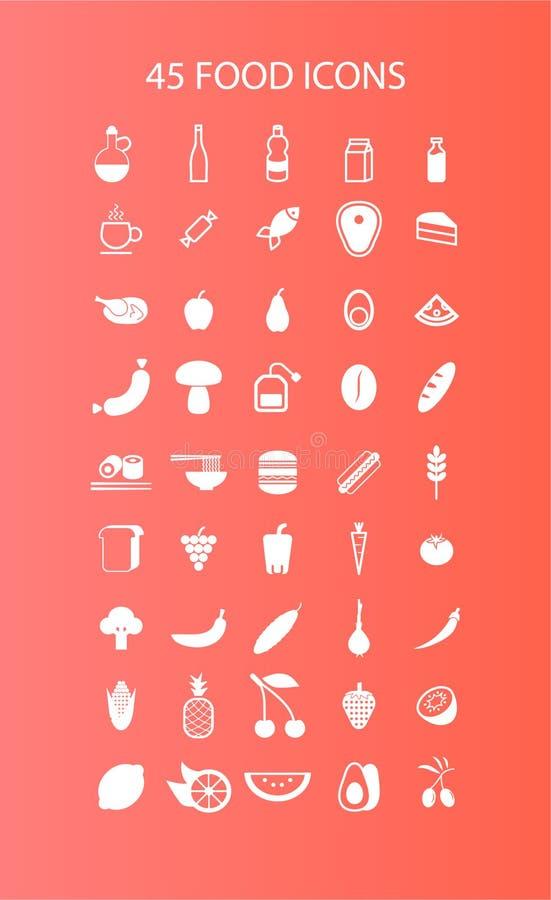 45 food icons stock photos
