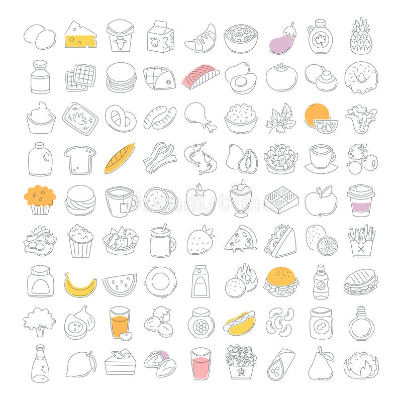 Food icons drawn in thin line vector illustration