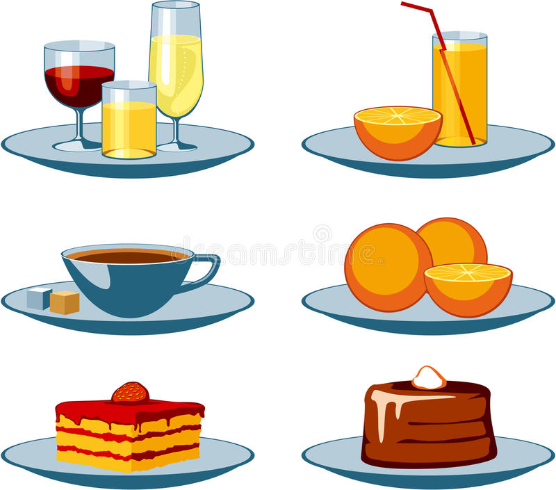 Food Icons drinks and sweets royalty free stock photos