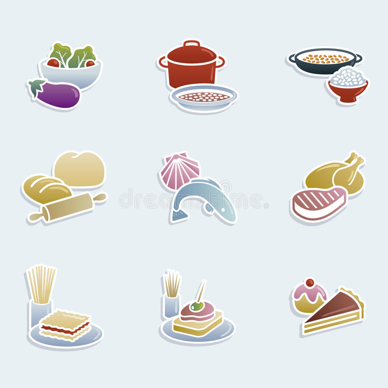 Food icons. Icon set showing different groups of food vector illustration