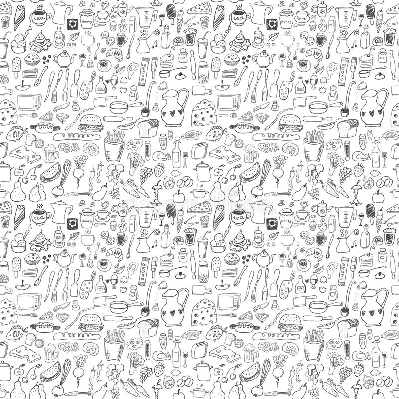 Food icons seamless pattern royalty free illustration
