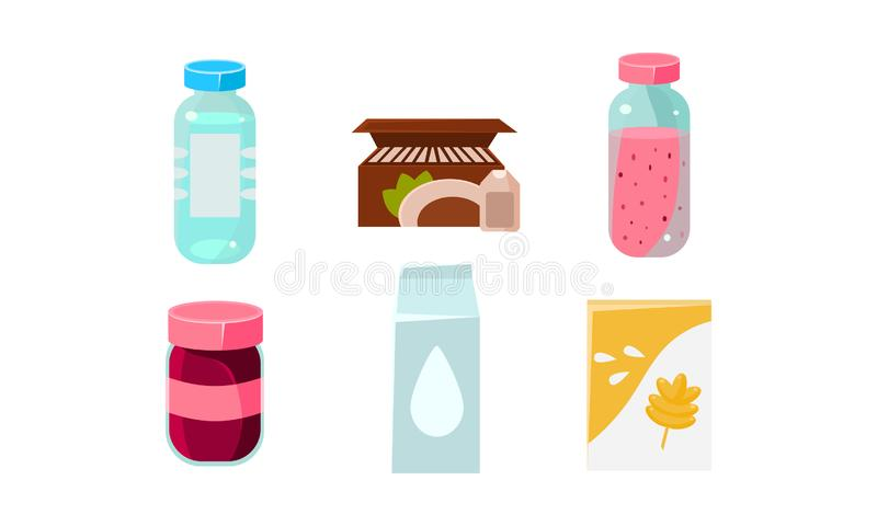 Food icons set, grocery products in plastic and cardboard packaging vector Illustration. Isolated on a white background royalty free illustration