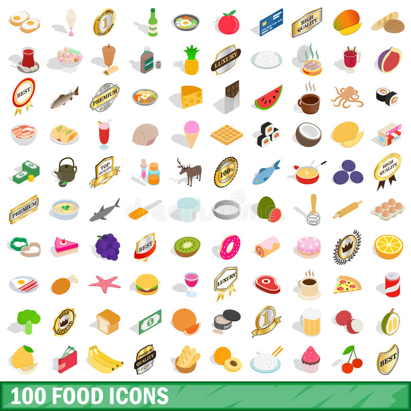 100 food icons set, isometric 3d style vector illustration