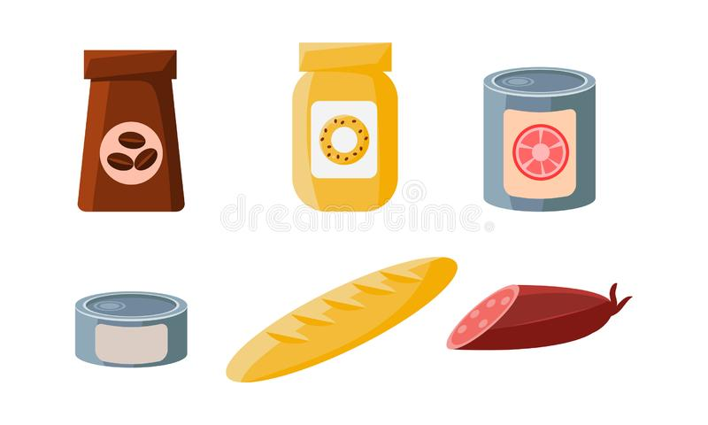 Food icons set, packaging of coffee, biscuits, cans, loaf, sausage vector Illustration stock illustration