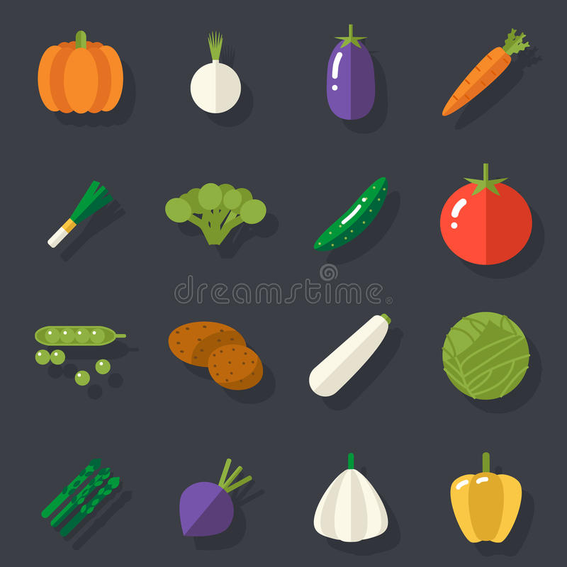 Food Icons Set Vegetables Symbols Healthy and. Food Icons Set Vegetables Symbols Healthy Healthsome on Stylish Background Flat Design Template Vector stock illustration