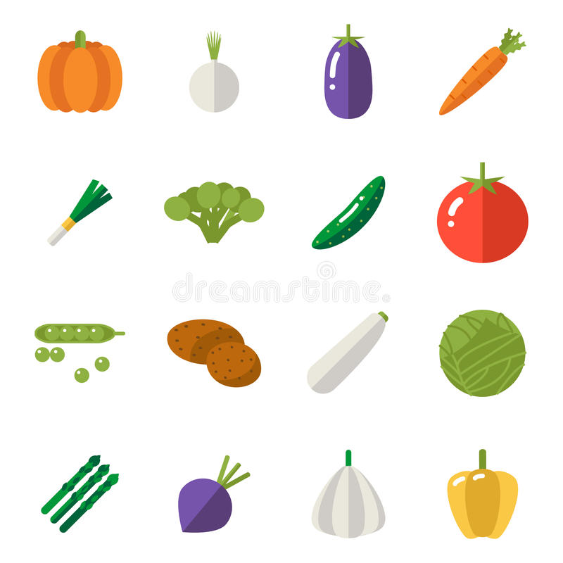 Food Icons Set Vegetables Symbols Healthy and Healthsome on Stylish Background Flat Design Template Vector Illustration. Food Icons Set Vegetables Symbols royalty free illustration