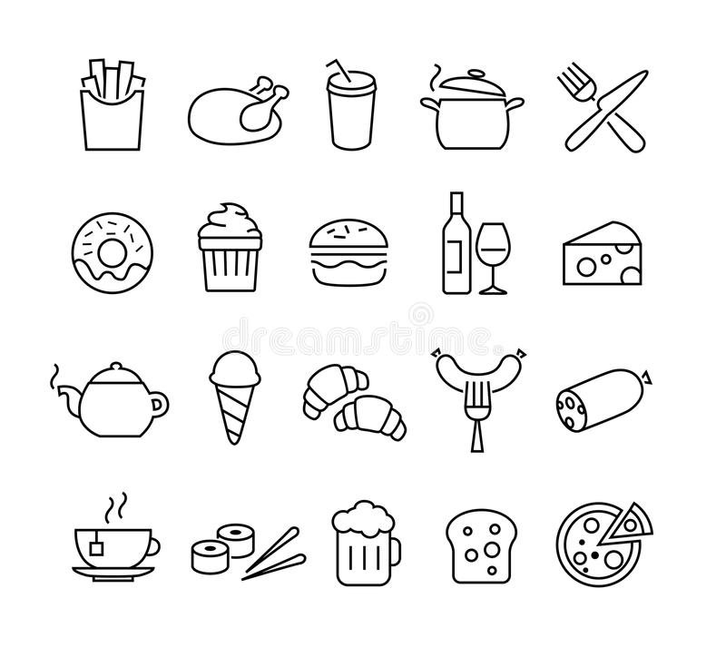food icons thin lines stock vector  illustration of cook
