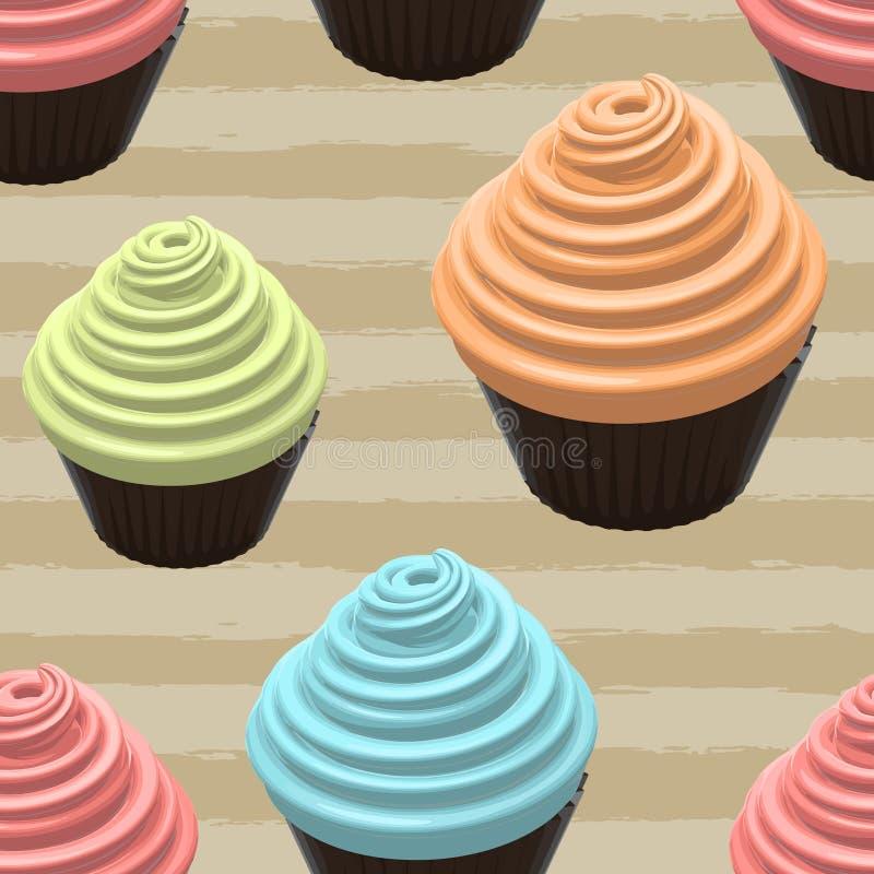 Food Illustration Of Cupcake stock illustration