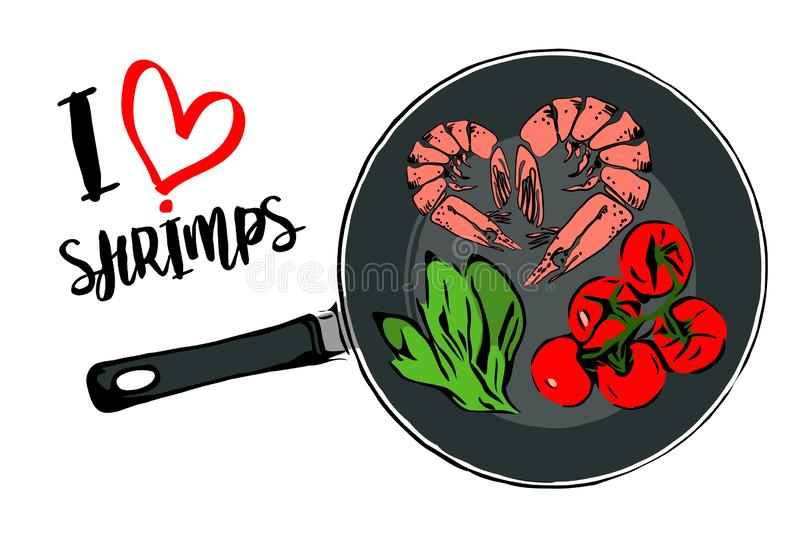 Green cartoon herbs, brunch of red cherry tomatoes and heart shape of two prawns inside pan. vector illustration