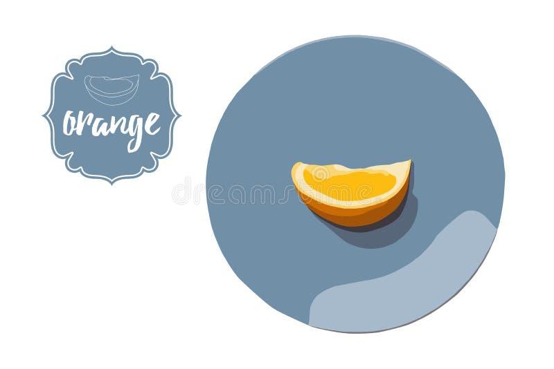 Cartoon hand drawn orange peace on blue round plate. Orange cut retro store label badge stock image