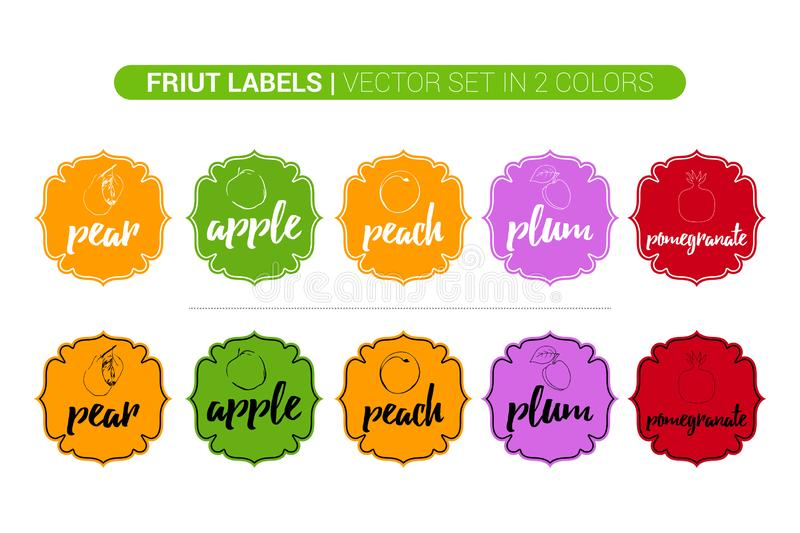 Colorful fruit labels set of pear, Apple, peach, plum, pomegranate. Cartoon Advertising business Stickers. royalty free illustration