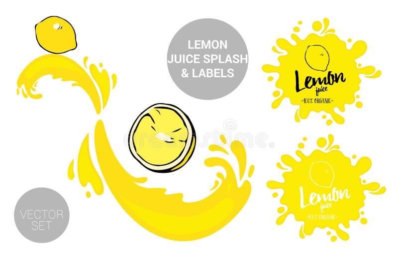 Organic fruit labels tags and lemon juice text. Colorful tropical stickers. Juicy exotic fruit badges with splashes. Cartoon lemons with juice splashes. Organic royalty free illustration