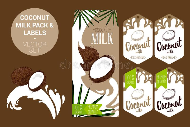 Coconut milk pack with palm leaves, organic labels tags. Colorful tropical stickers. exotic fruit badges. Cartoon coconut on milk splash. coconut milk pack with vector illustration