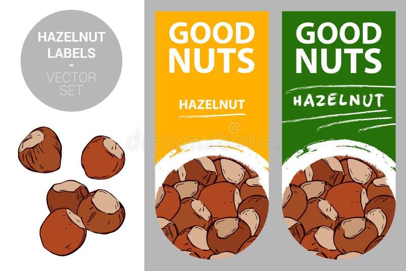 Hazelnut product labels. Hazelnuts isolated on white background. Nut badges royalty free illustration
