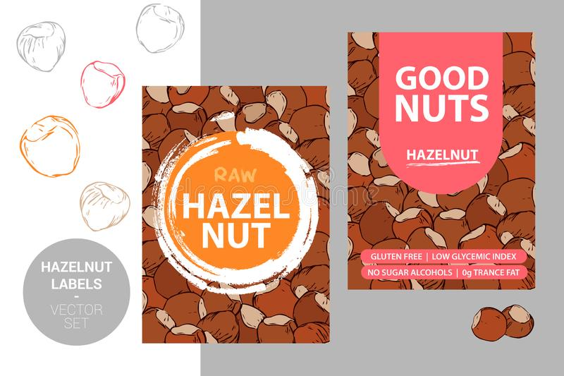 Hazelnut product Badge with text: gluten free, low glycemic index, no sugar alcohols, 0g trance fat stock illustration