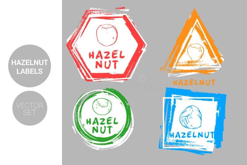 Hazelnut colorful label set. Raw organic nuts Badge shapes. Creative Nut tags. stock illustration