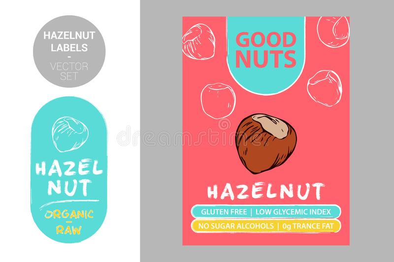 Hazelnut product Badge with text: gluten free, low glycemic index, no sugar alcohols, 0g trance fat. vector illustration