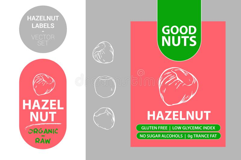 Hazelnut red labels with text: gluten free, low glycemic index, no sugar alcohols, 0g trance fat. Raw organic sticker vector illustration