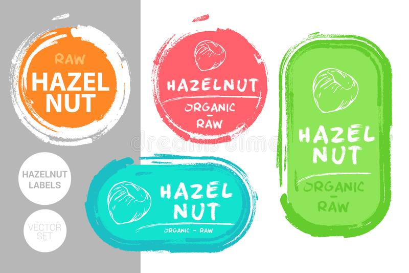 Hazelnut colorful label set. Creative Nut tags. Raw food stickers royalty free illustration