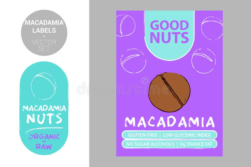 Macadamia nuts colorful labels. Cartoon hand drawn nuts. Nut product Badge with text: gluten free, low glycemic index, vector illustration