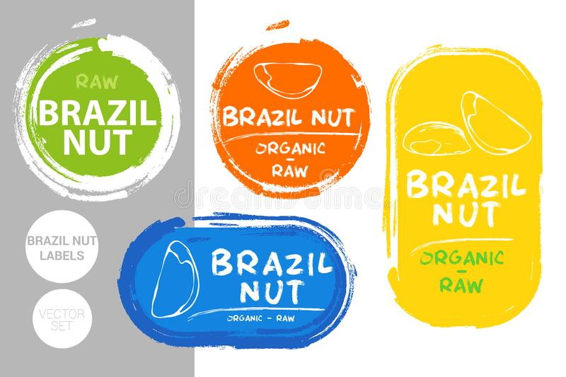 Brazil nuts colorful label set. Raw organic nuts Badge shapes. Creative Nut tags. royalty free illustration