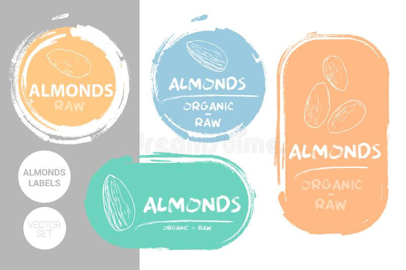 Almonds colorful label set. Raw organic almond nuts Badge shapes. Creative Nut tags. vector illustration