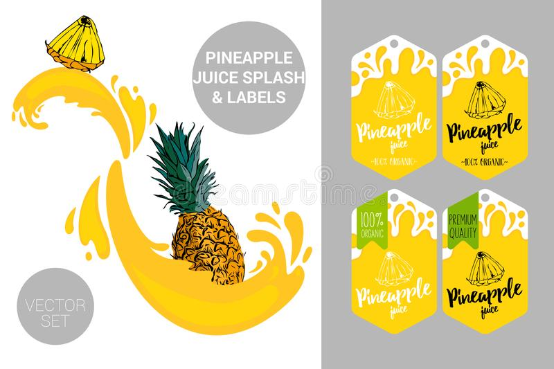 Cartoon pineapple cut with juice splashes. Organic fruit labels tags. Colorful tropical stickers. royalty free illustration