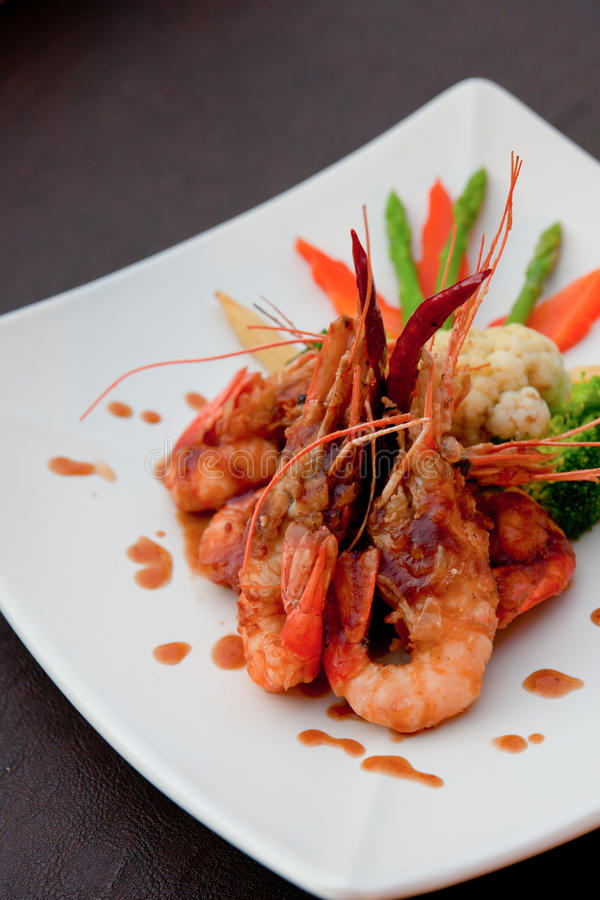 Food include shrimp on white plate royalty free stock photos