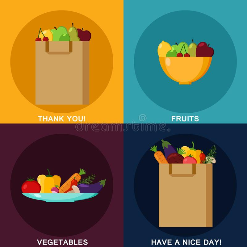 Food infographic elements. Paper shopping bag. Fruits and vegetables. Set of flat design concept icons for food. Vector vector illustration