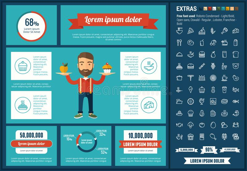Food flat design Infographic Template. Food infographic template and elements. The template includes illustrations of hipster men and huge awesome set of thin royalty free illustration