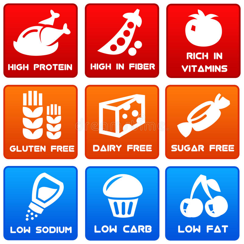 Food information. Relevant and important information about food stock illustration