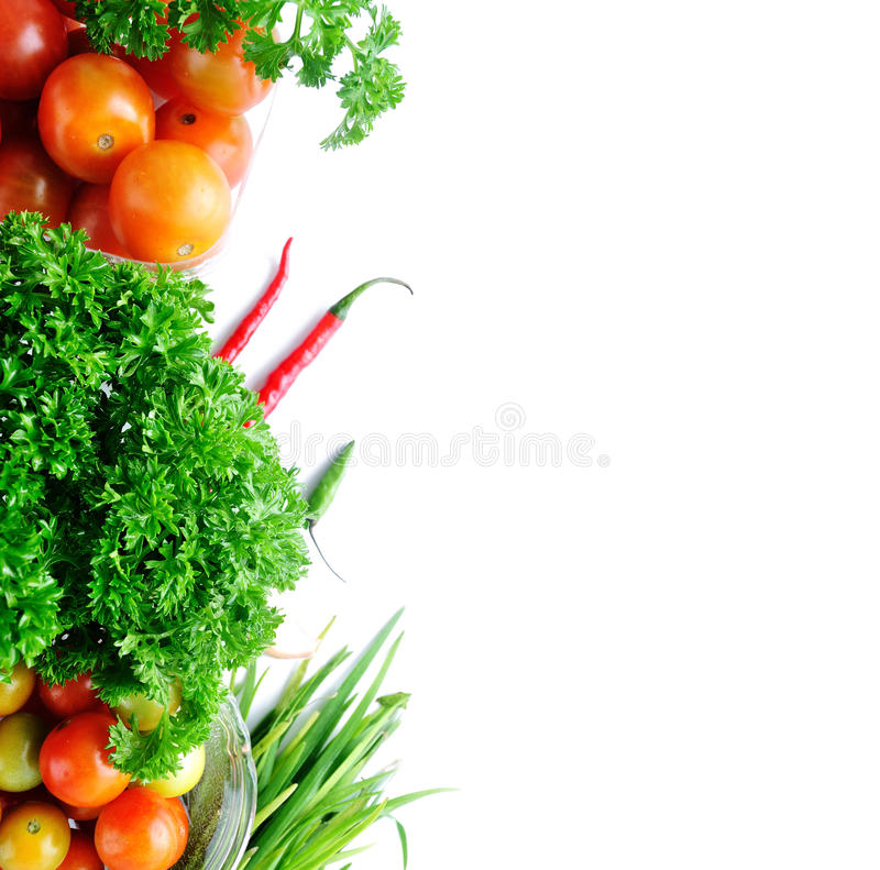 Food ingredient. With Tomato, chives, garlic, red chili, lettuce and parsley on white background with sample text stock photos