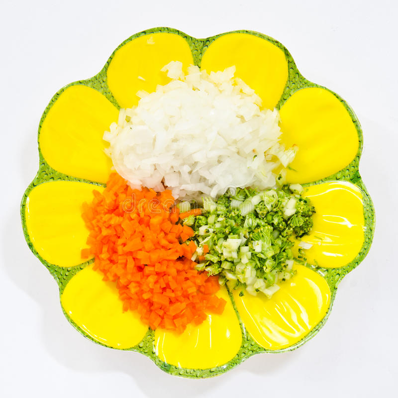 Food ingredients. Broccoli, carrots, onions, used as food ingredients stock images